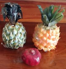 Lot of 2 Artificial Pineapple and 1 Pomegranate Plastic Decorative Fruit Fake