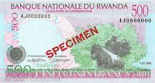 Rwanda 500 Francs 1998 Unc pn 26s Specimen
