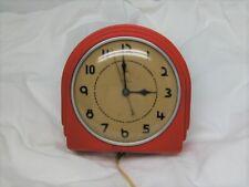 New ListingTelechron Electric Wall Clock Model 2H07 Vtg Art Deco Red Kitchen Clock Running