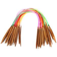 "18Pair 16"" Multicolor Carbonized Bamboo Circular Tube Knitting Needles 40cm I6V4"