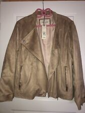 Ladies River Island Biker Jacket Dark Beige Size 16 New With Tags Faux Suede Fab