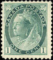 1898 Mint H Canada F+ Scott #75 1c Queen Victoria Numeral Issue Stamp