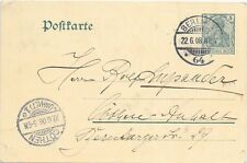 GERMANY REICH POST CARD BERLIN - COTHEN 22/6/1908; CLEAR CANCEL & RECEIVED.