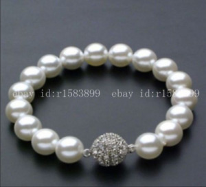 Beautiful 10mm Natural Round White South Sea Shell Pearl Bracelets 7.5""