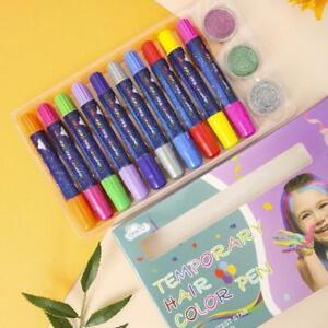 10pcs Temporary Hair Dye Chalk Pens Chalk With 3pcs Glitter.