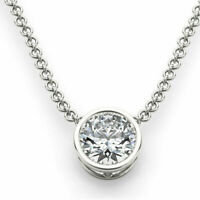 1Ct Round Solitaire Pendant Necklace Bezel Set W/Chain Solid 14K White Gold Over