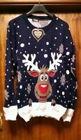 WOMANS CHRISTMAS REINDEER JUMPER-TOP/_GIRLS/_LADIES/_XMAS GIFT-SIZE 20
