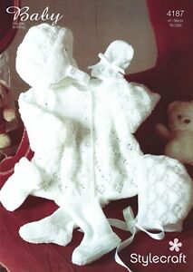 4187 Stylecraft Baby DK Knitting Pattern Pram Set Jacket Bonnet Leggings & Mitts