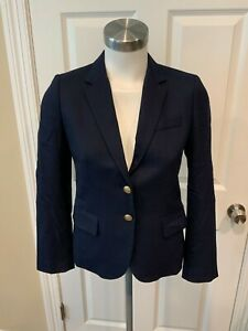 J. Crew Navy Blue Wool Blend Gold Button Blazer, Size 0P (US)