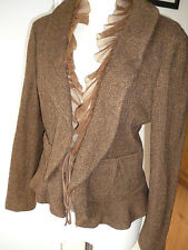 DKNY,Brown Tweed wool mix &Silk frill Jacket,Tie front,Hippy boho,Smart/Casual.