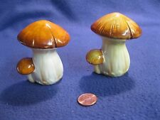 Vintage Cream Brown Young Mushroom Bunch Salt and Pepper Shakers Ceramic      61