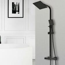 Black Bathroom Thermostatic Mixer Shower Set Square Twin Head Exposed Valve