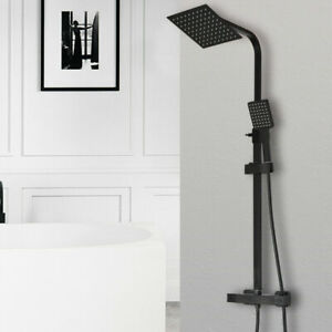 Black Bathroom Thermostatic Mixer Shower Set Square Twin Head Exposed Valve
