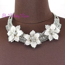 Silver Deco Metal Trio Lacey Mesh Floral Flower Garland Crystal Collar Necklace