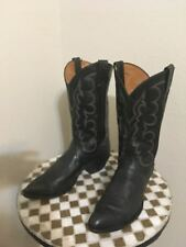 VINTAGE BLACK TONY LAMA TEXAS MADE WESTERN RANCH WORK COWBOY POINTY BOOTS 11 D