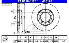 ATE Juego de 2 discos freno 280mm para FORD TRANSIT 24.0116-0126.1