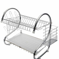 2-Tier Dish Drying Rack Stainless Steel Drainer Kitchen Storage Space Saver US
