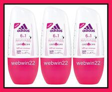 3pcs adidas 6in1 Cool & Care Antiperspirant Deodorant 48h roll on 50ml Women