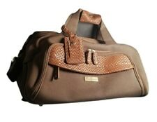 """Tommy Bahama Canvas Leather Duffle Luggage Pockets Carryon 18x10x9"""" Strap Handle"""