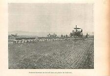 Machine Agricole Plaine de Californie USA  GRAVURE ANTIQUE OLD PRINT 1905