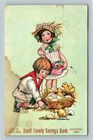 Katharine Gassaway - Easter Girl & Boy w/ Chicks Basket Eggs Bank c1909 Postcard