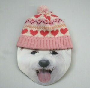 Smoochie Pooch Dog Hat / Touque M/L Pink with Hearts
