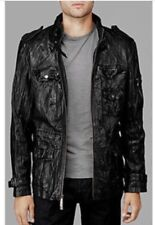 Mens 7 For All Mankind 7FAM Medium Black Leather Jacket Utility Field Cargo Coat