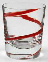 Pier 1 SWIRLINE RED Double Old Fashioned Glass 5933468