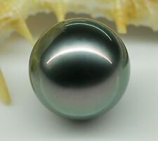 Perfect 16mm AAA tahitian genuine black peacock green loose pearl undrilled