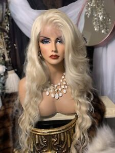 """HOLLYWOOD GLAMOUR! 32"""", 613 Blonde, Whole Lace, Human Hair Blend, FREE PART WIG"""