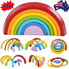 Kids Children 7 Color Wooden Rainbow Stacking Building Blocks Educational Toy GT