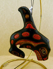 New Handmade & Painted Wooden Ornament Figurine Totemic Alaskan Whale Orca
