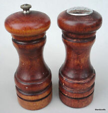 Baribocraft Salt Shaker & Pepper Grinder Mill 5.5in Wood Teak Stain 1970s Canada