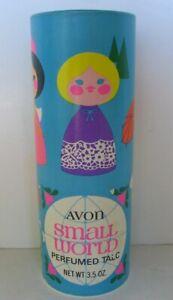 Vtg Avon Small World Perfumed Talc FULL! net wt. 3.5 oz.
