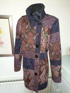 Stunning Joe Browns Coat - Purple  Mix tapestry Pattern - UK 18 -