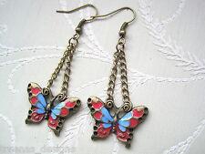 *ENAMEL BUTTERFLY* Chain Drop Antique Gold Earrings Gift Bag Black Red Blue
