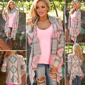 Womens Open-front Cardigan Loose Sweater Long Sleeve Knitted Outwear Jacket Coat