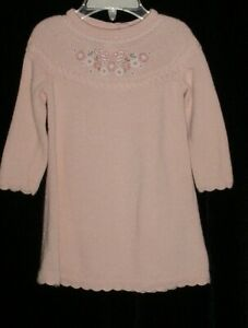 EUC Janie & Jack Girls AUTUMN IN THE PARK Peach Sweater Dress 6-12 M VHTF