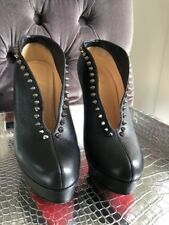 CHRISTIAN LOUBOUTIN MISS PLATO BLACK LEATHER AND SPIKE BOOTIES SZ 37.5