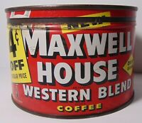 Old Vintage 1950s Maxwell House Western KEYWIND COFFEE TIN 1 POUND Houston Texas