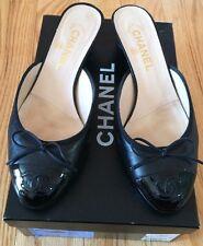 Chanel Classic Black Patent Leather CC Logo Mules Pumps Shoes Slip On. Size 39.