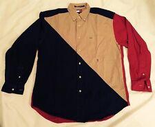 Tommy Hilfiger Mens Button Down Long Sleeve Shirt Vintage Size Medium 100%Cotton