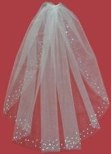 Swarovski Crystal Rhinestones Cut Edge Wedding Bridal Veil White Diamond Ivory