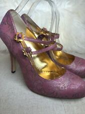 Hale Bob Pink Silver Paisley Fabric Mary Jane Heels Double Strap NEW Sz 9.5