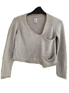 SARAH PACINI Ladies Beige Linen Blend Wrap Effect Short Jumper - S/M