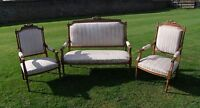 19th Century French Walnut 3 Piece Salon Suite/Drawing Room Suite  -  (001200)