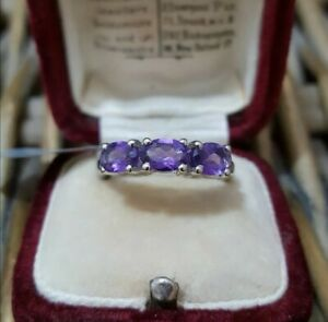 Natural Amethyst Sterling Silver Ring, Three Gemstones Ring,  Size  L½, New