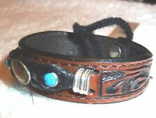 Leather & Braided Horse Hair Bracelet Quarter Horsehead Concho  NWT!  Boxed (L)