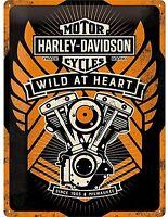Harley Davidson Wild presso Cuore Grande Goffrato Segno Del Metallo 400mm x