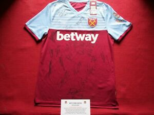 WEST HAM UNITED- HAMMERS 22 GENUINE HAND SIGNED 2019-20 SHIRT JERSEY-PHOTO PROOF